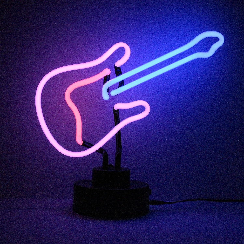 Icon Neon Neon Neon Pink Gitarre echte Neon-Beleuchtung Skulptur blau 9538ab