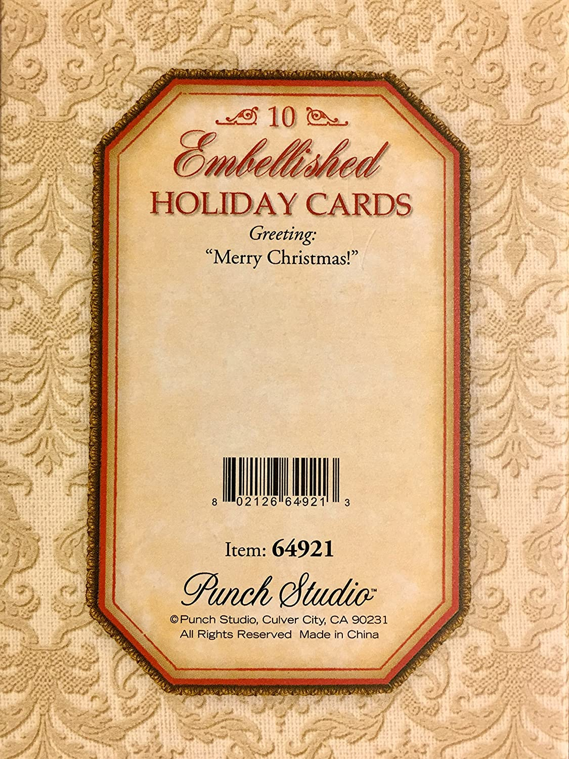 Amazon.com : Punch Studio Gold Foil Embellished Die Cut Holiday ...