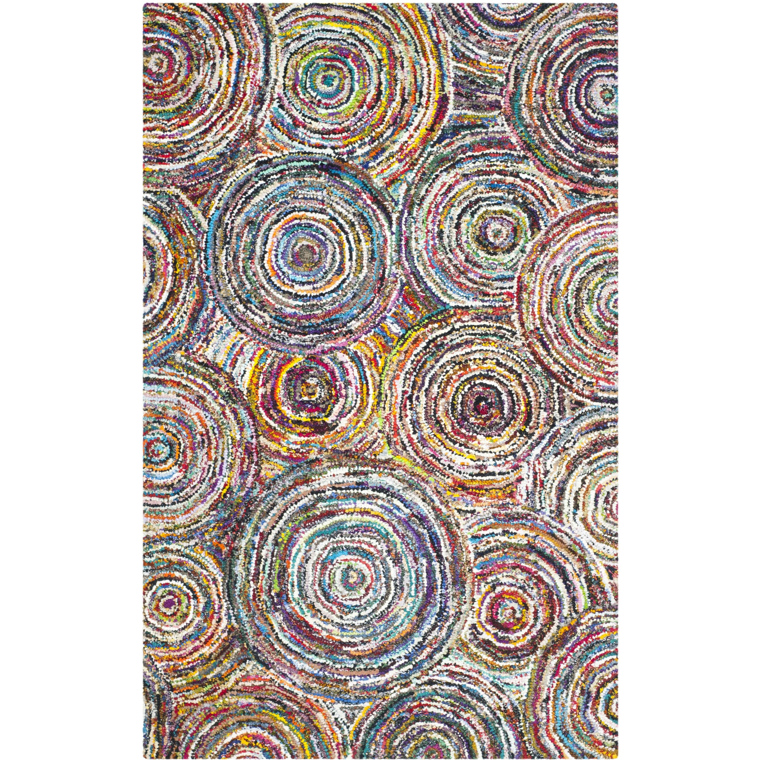 Safavieh Nantucket Collection NAN514A Handmade Abstract Circles Multicolored Cotton Area Rug (4' x 6') by Safavieh