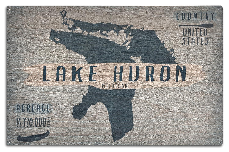 Lake Huron、ミシガン州 – 湖Essentials – 形状、acreageと郡 10 x 15 Wood Sign LANT-75135-10x15W 10 x 15 Wood Sign  B07366L9SH