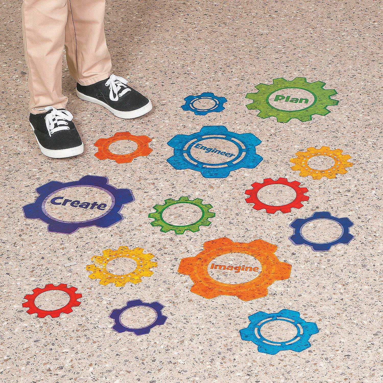 Fun Express - Gear Shaped Stem Floor Clings - Educational - Teaching Aids - Misc Teaching Aids - 26 Pieces by Fun Express