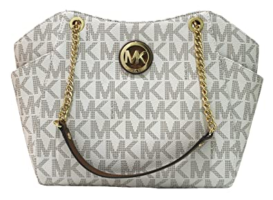 3ff2fd95782d Amazon.com  Michael Kors Jet Set Travel Lg Chain Tote - Vanilla  Shoes