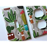 Succulent And Cactus Light Switch Plate Cover Various Sizes Offered