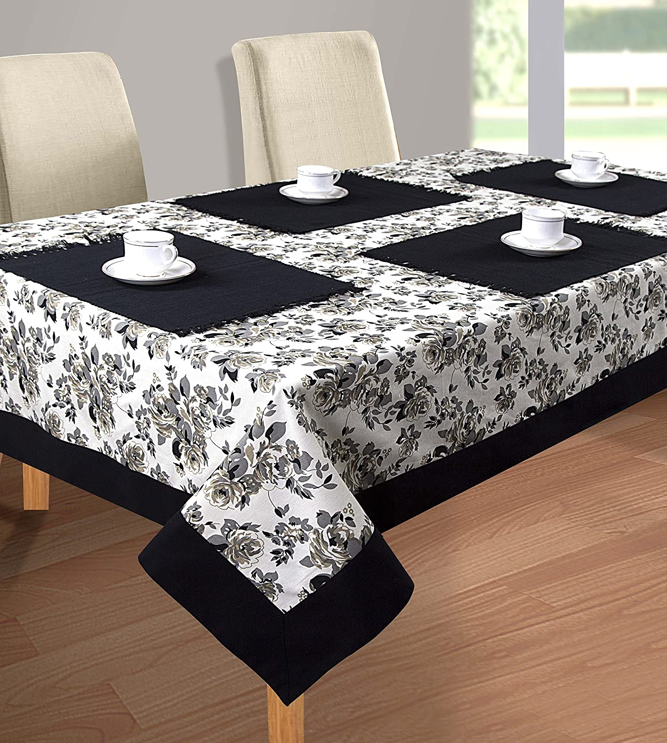 Cloth Fusion Cotton Center Table Cover 4 Seater - (40x60 Inch, Grey)
