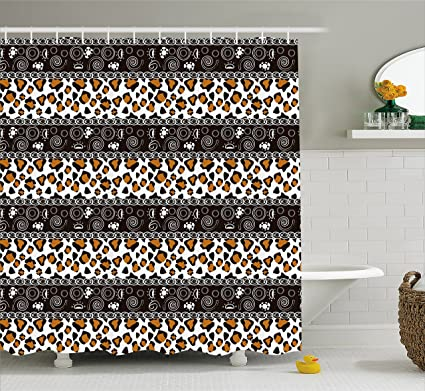 Ambesonne Zambia Shower Curtain African Cheetah Pattern With Circles Spiral Exotic Fur Zoo Safari Image