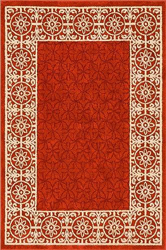 HomeWay Pattern Rugs – Classic Modern Area Rug Red 9 3 x 12 3 Carpet