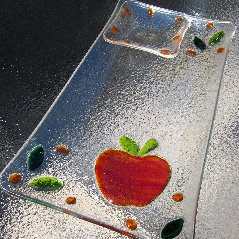 Apple and Honey Dish Fused Glass Rosh Hashanah Platter Apple and Honey Set Jewish New Year Platter Jewish Wedding Registry