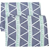 Bacati Aztec/Tribal Crib/Toddler Bed Fitted Sheets Cotton Muslin 2 Piece, Mint/Navy