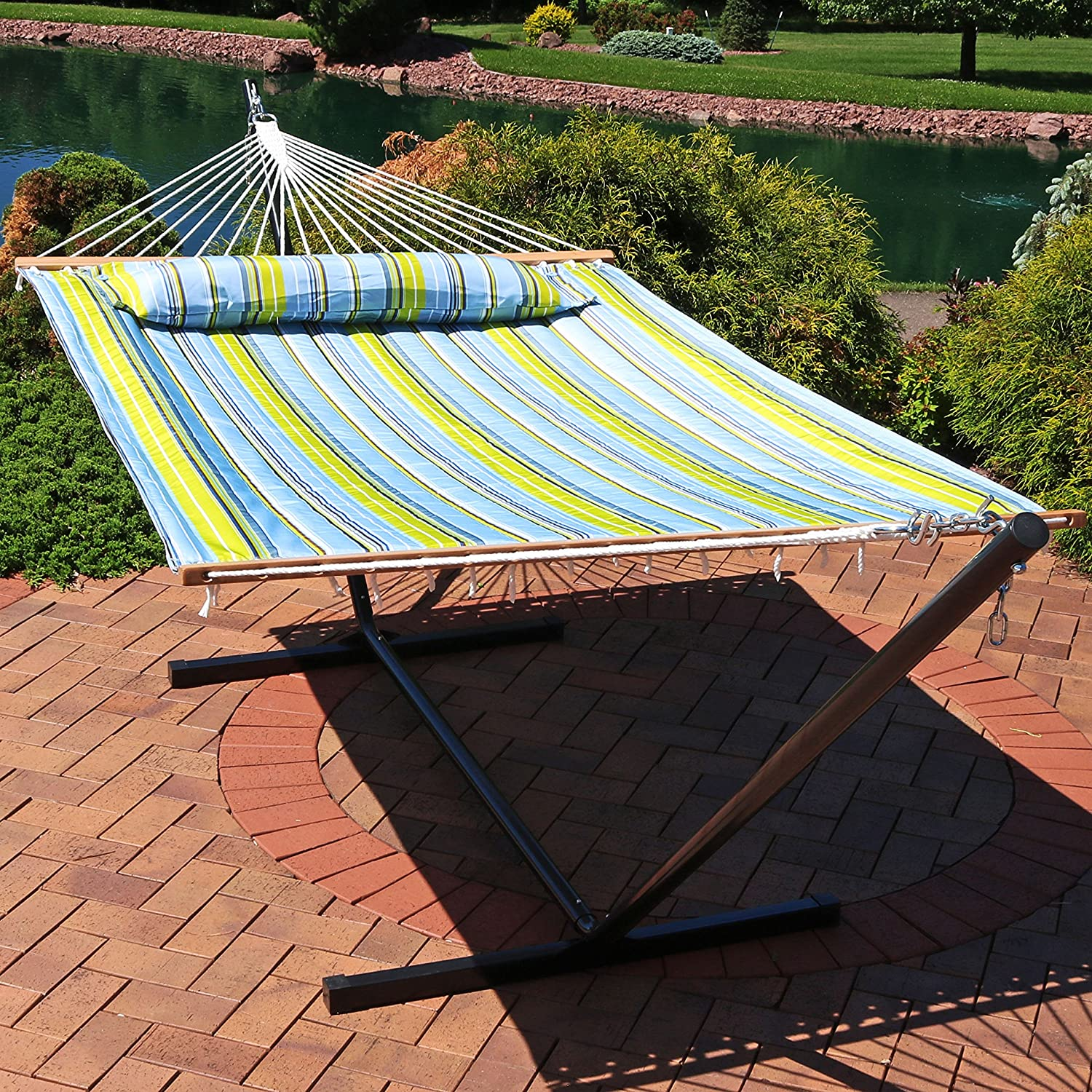 Amazoncom Sunnydaze 2 Person Double Hammock With 12 Foot Portable