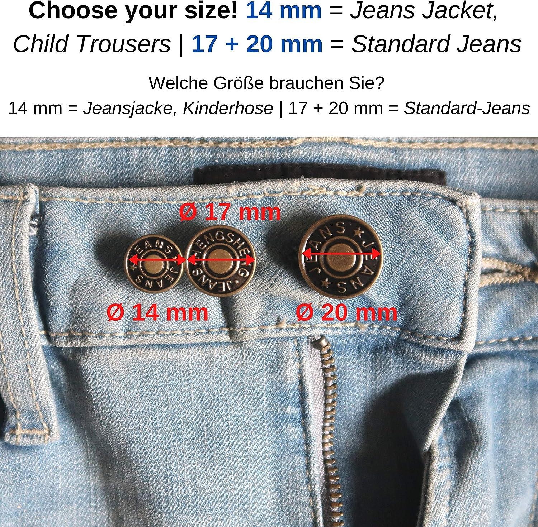 20pcs Hammer Auf 17mm Jeans Knöpfe Denim Ersatz Messing Nieten Jacke Hose
