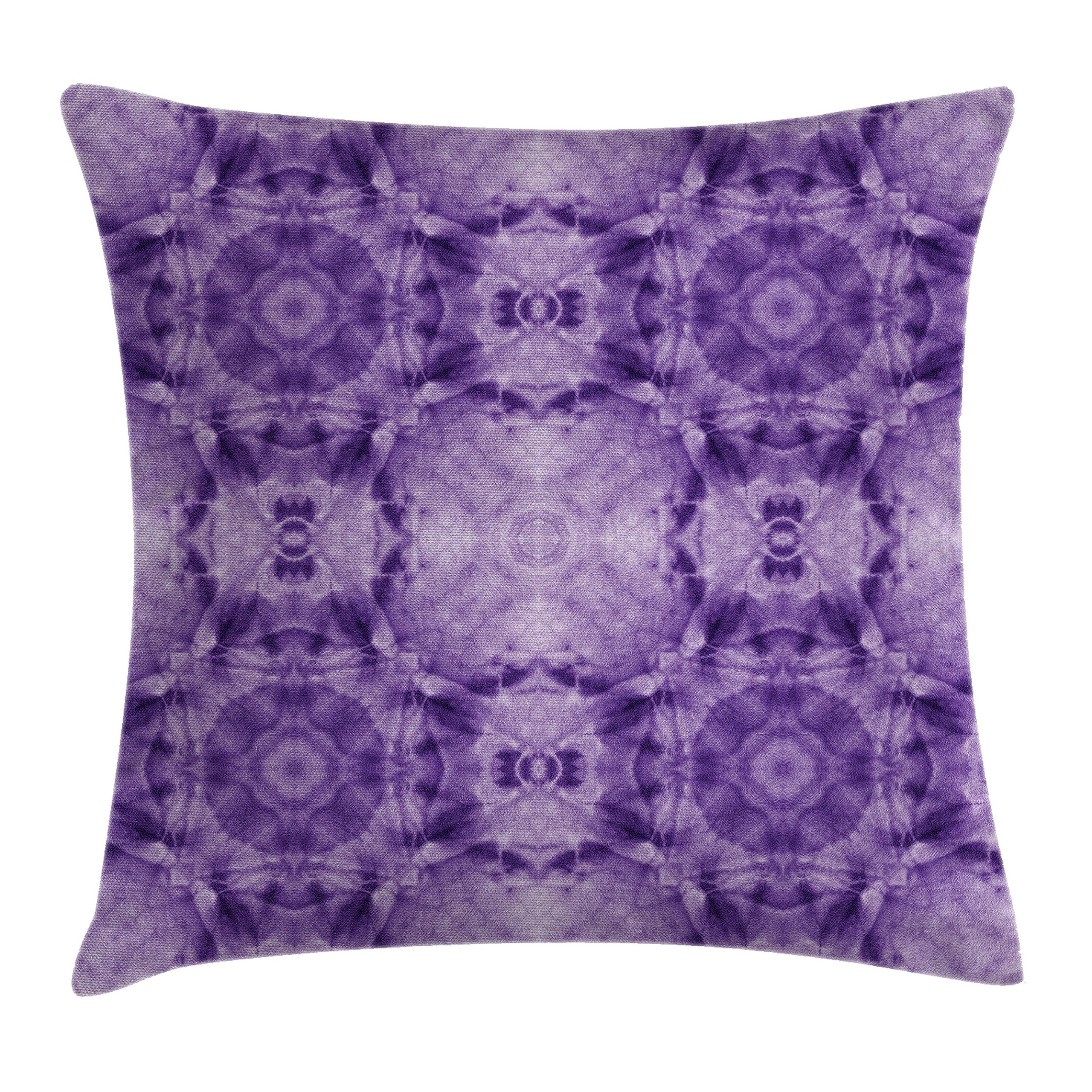 Ambesonne Tie Dye Decor Throw Pillow Cushion Cover by, Thai Style Motif Generated with Square Shaped Kaleidoscope Murky Toned Forms, Decorative Square Accent Pillow Case, 20 X 20 Inches, Purple