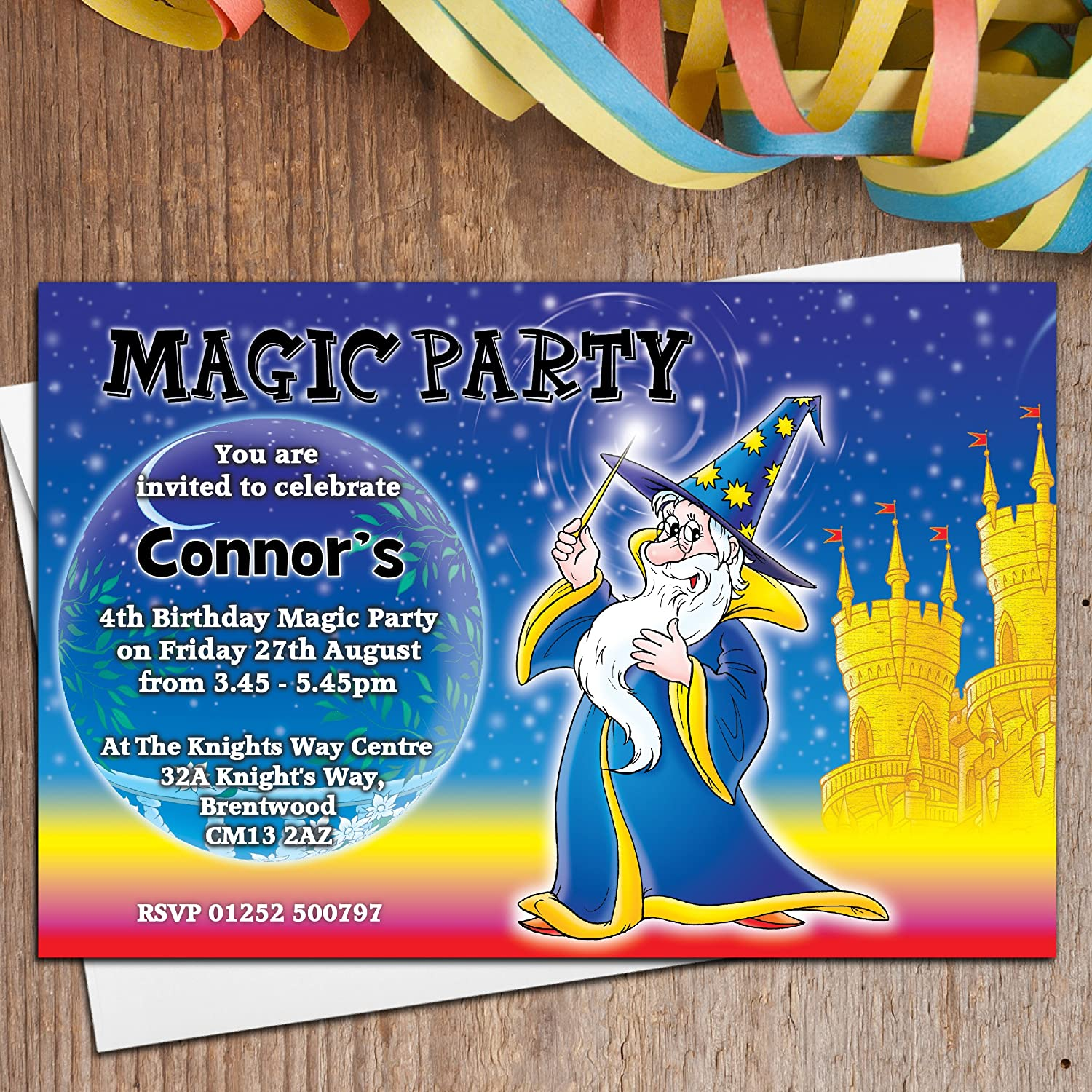 10 Personalised Girls Boys Magic Magician Birthday Party Invitations ...