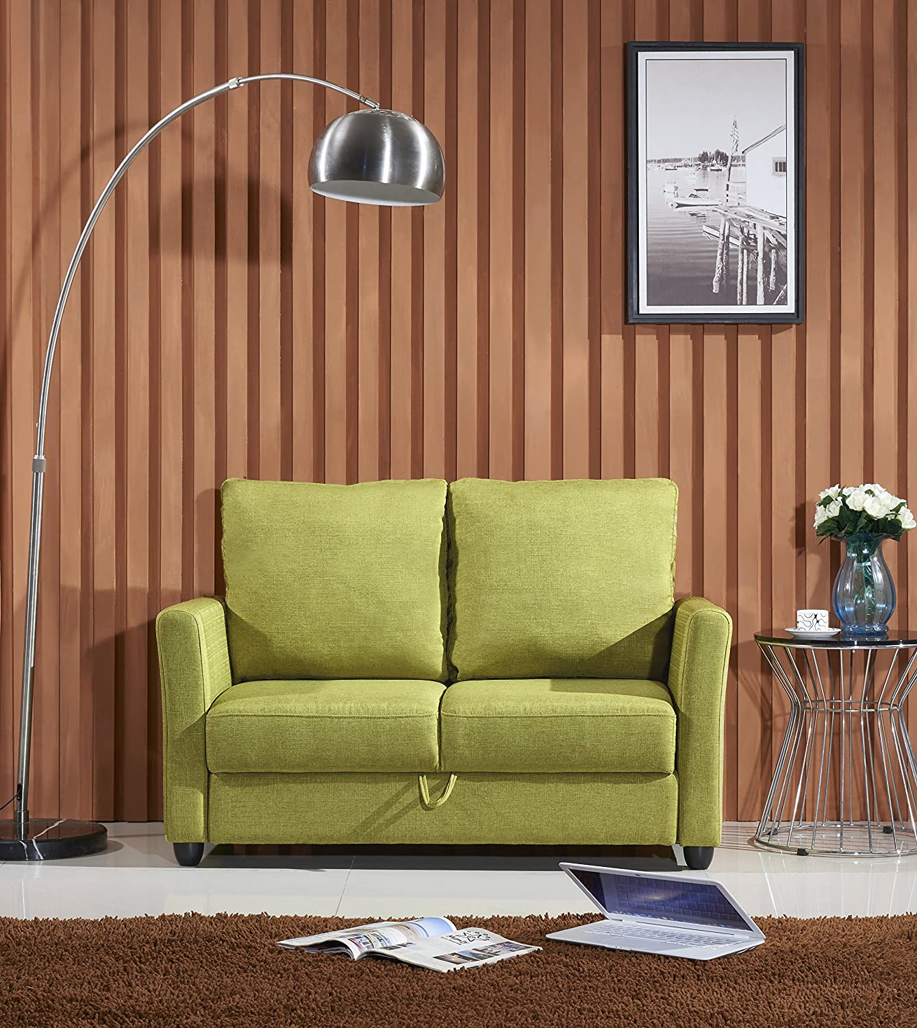 Amazon com container furniture direct adia collection modern fabric upholstered living room loveseat with storage green kitchen dining
