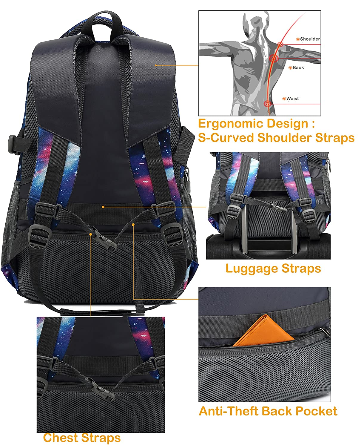 c2db9e45de47 ProEtrade Backpack Bookbag For School College Student Travel Business with  USB Charging Port larger image