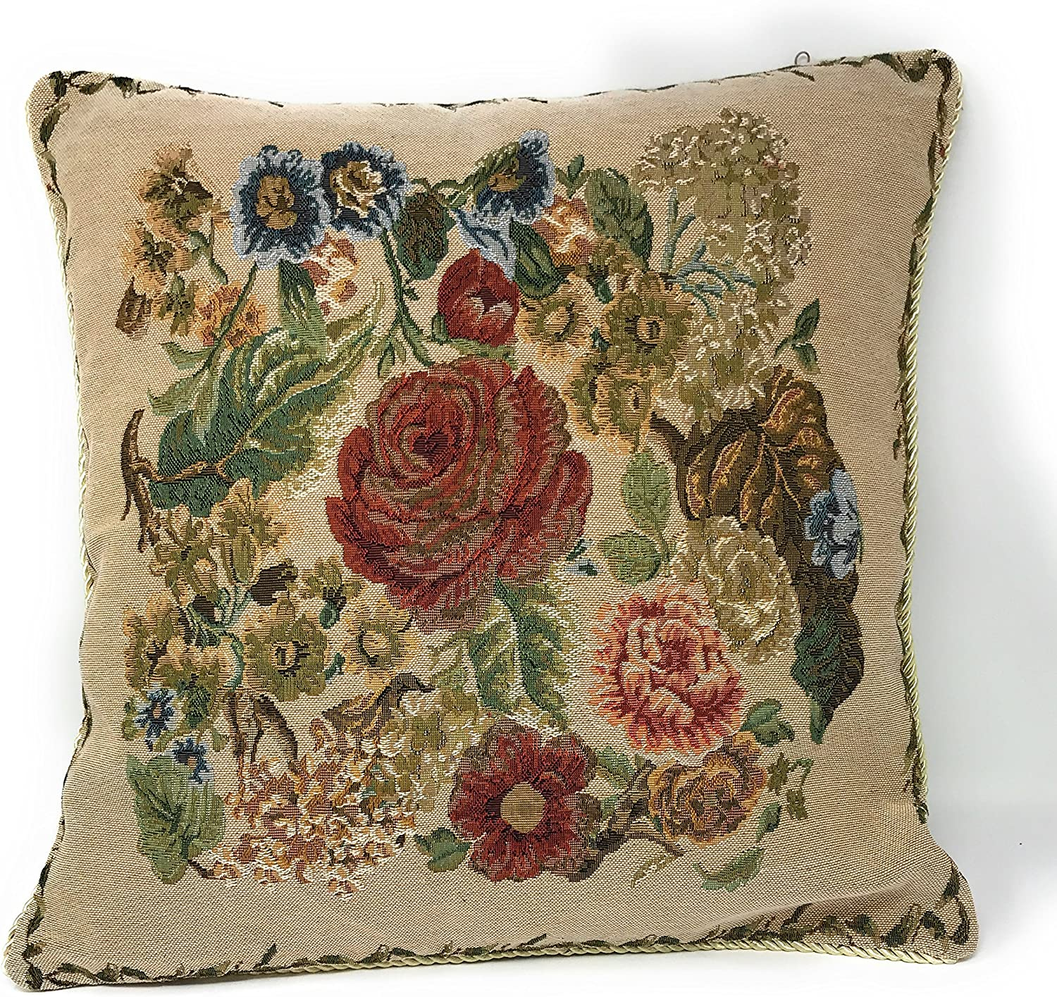 Tache 1 Piece 18 X 18 Inch Colorful Floral Country Rustic Morning Meadow Decorative Cushion Throw Accent Pillow Cover - 3098