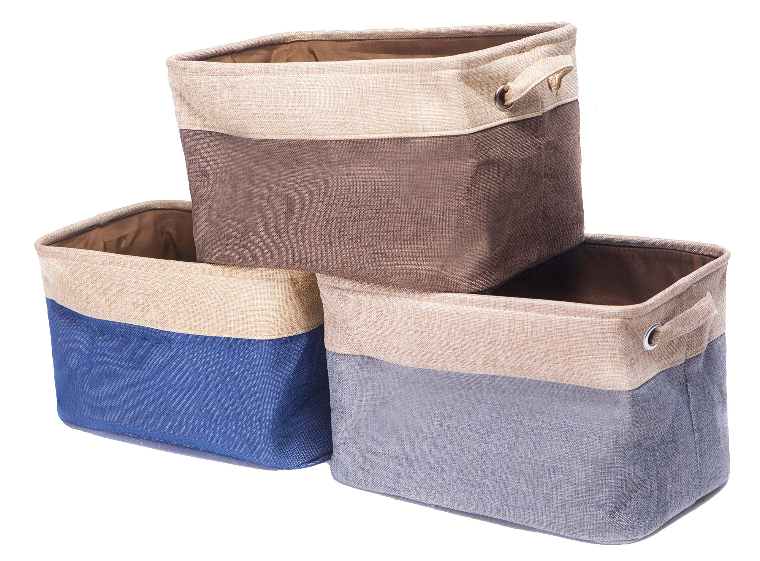 "Amelitory Storage Bins Foldable Basket Fabric Cube Collapsible Organizer Cotton Linen Set of 3 (Multi) - Set of 3 storage cubes for organizing home and office clutter 14.5"" x 10"" x 8.5"" Large capacity,providing you a good space-saving solution Durable and foldable, 2 sturdy handle with metal eyelets for grabbing or pulling from shelves, easy to carry or store - living-room-decor, living-room, baskets-storage - A1LLE%2Bwl5uL -"