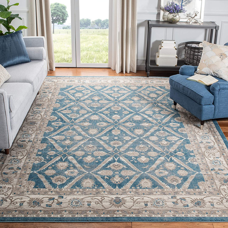 Safavieh Sofia Collection Sof378c Vintage Oriental Distressed Area Rug 6 7 X 6 7 Square Blue Beige Furniture Decor Amazon Com