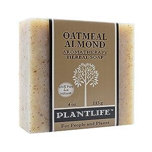 PLANTLIFE Oatmeal Almond Aromatherapy Soap Bar, 4 OZ