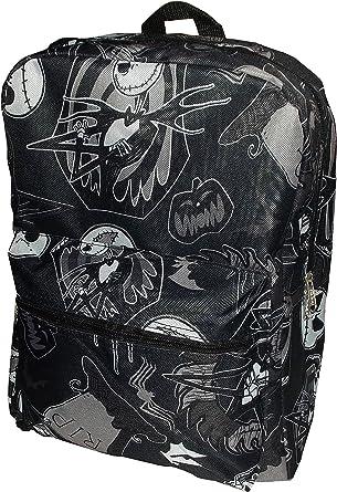 "Disney Jack Skellington Head Black Backpack School Book Bag Backpack 16/"" for Kid"