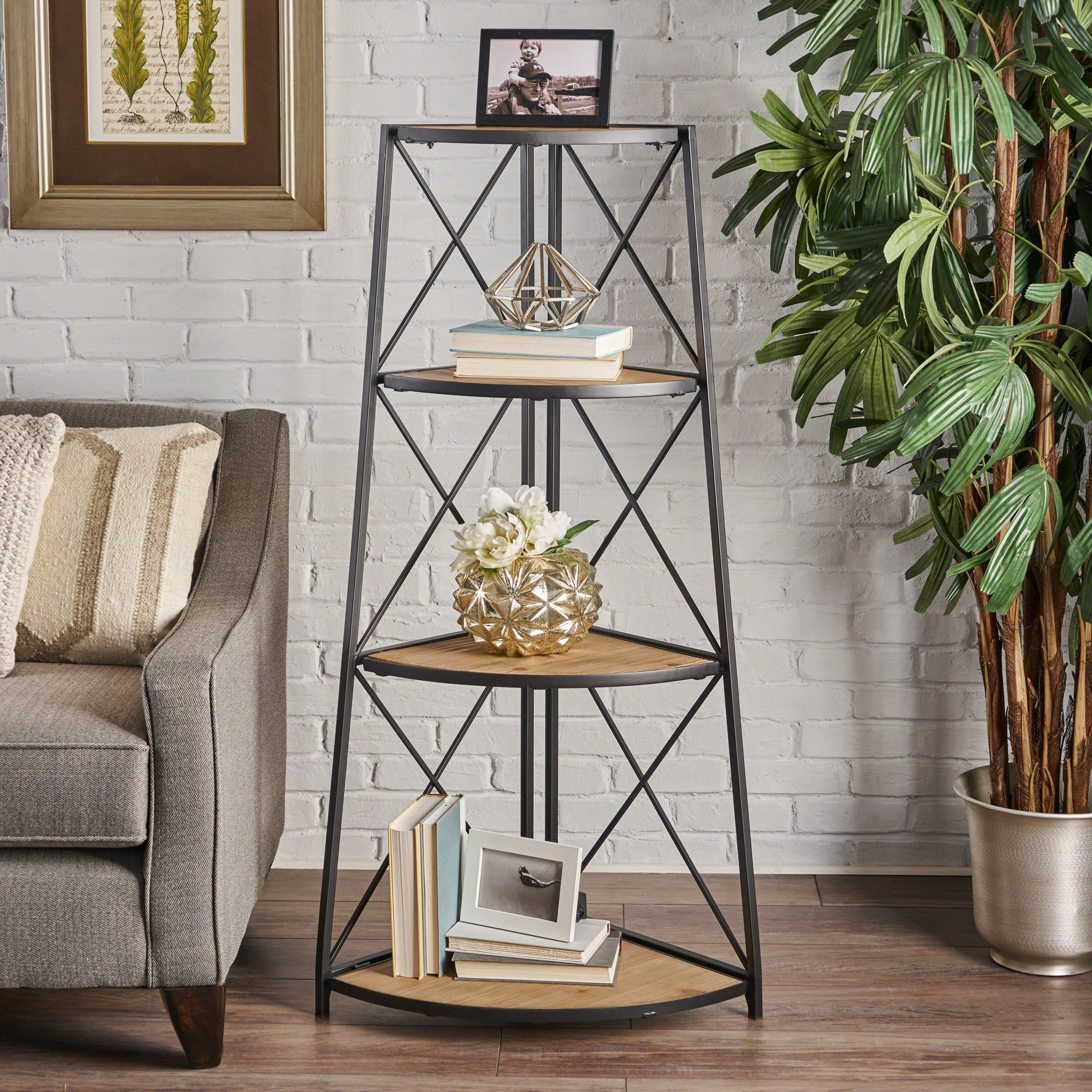Danny Indoor Industrial Naturally Antique Firwood 3-Tier Corner Shelf with Black Finished Iron Frame by Great Deal Furniture