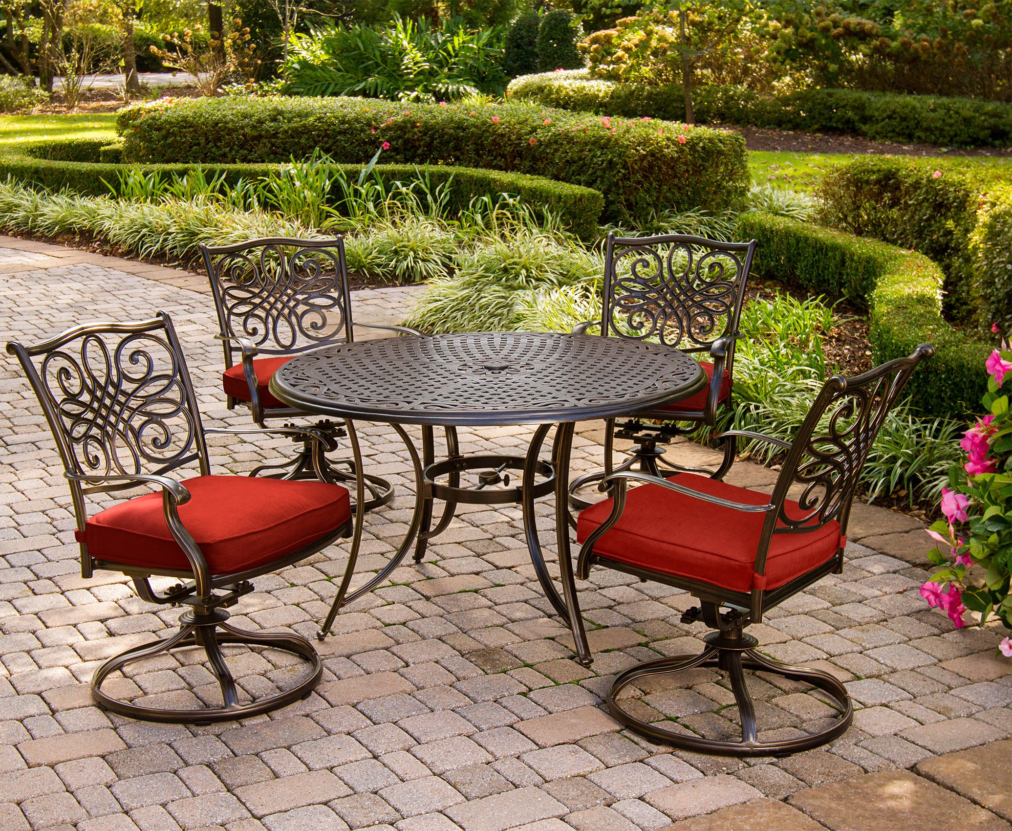 Hanover TRADDN5PCSW-RED Traditions 5-Piece Dining Set, Red Outdoor Furniture