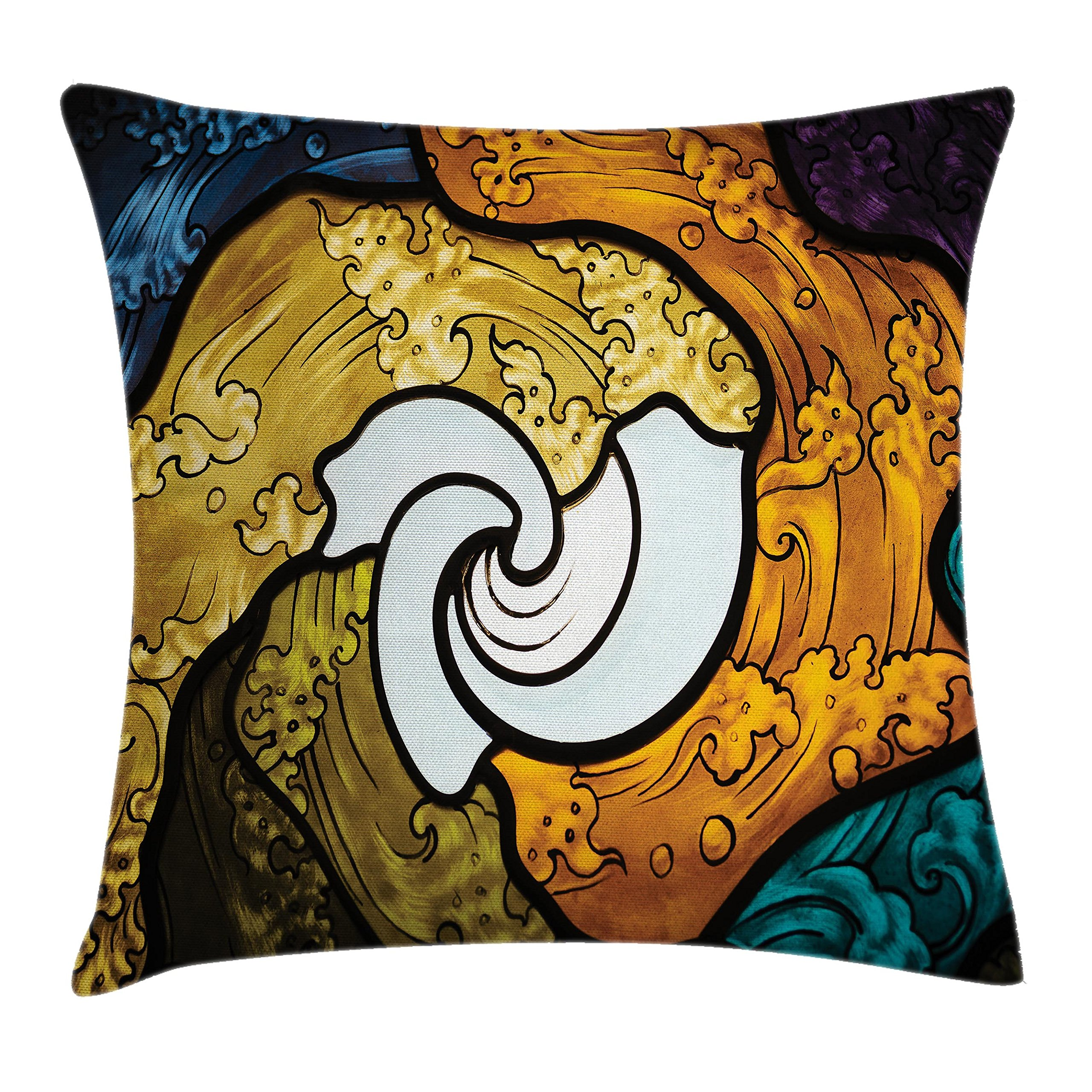 Ambesonne Trippy Decor Throw Pillow Cushion Cover by, Pop Art Style Funky Unusual Stained Glass Window Thai Art Pattern Traditional Image, Decorative Square Accent Pillow Case, 18 X 18 Inches, Multi by Ambesonne