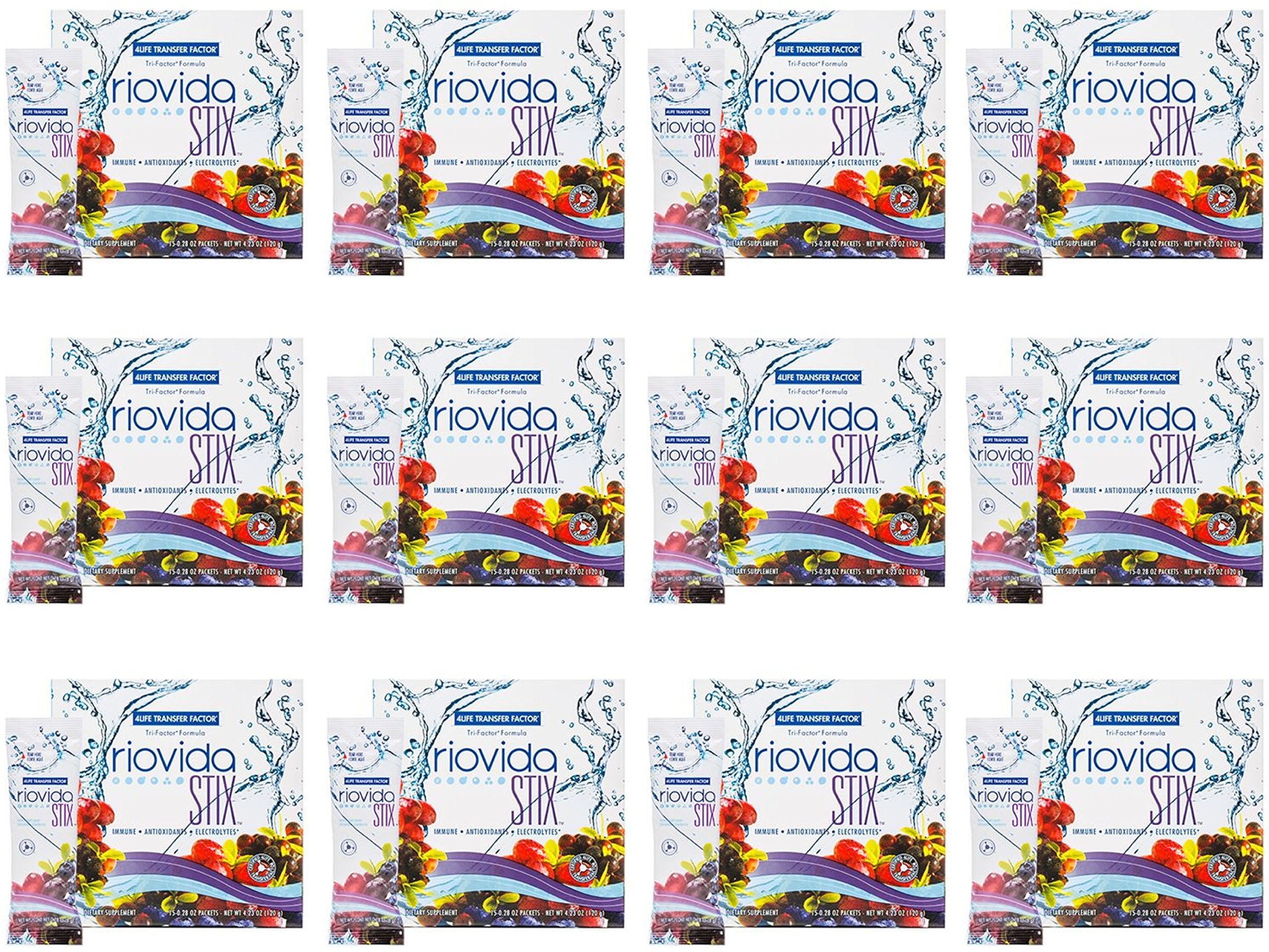 Transfer Factor RioVida Stix (12 boxes of 15 packets each) by 4Life