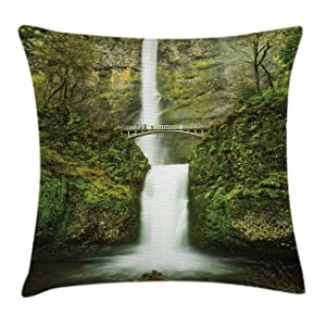 """Ambesonne Hobbits Throw Pillow Cushion Cover, Falls of Rivendell Multnomah Waterfall Oregon with Hobbit Elf Path Bridge Scene Image, Decorative Square Accent Pillow Case, 16"""" X 16"""", Forest Green"""