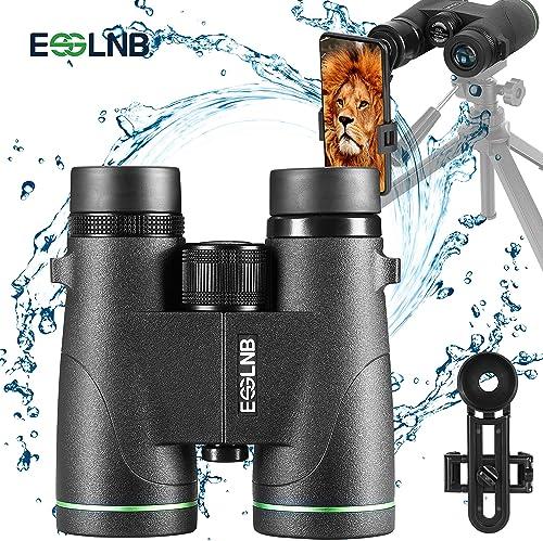 ESSLNB Binoculars for Adults BAK4 Roof Prism FMC Lens with Phone Mount Carrying Bag 8×42 Waterproof Binoculars for Bird Watching Astronomy with Tripod Thread