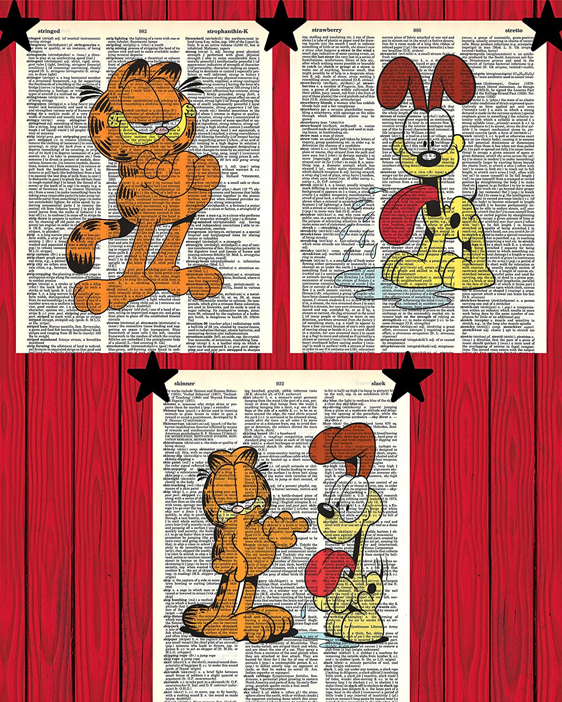 Garfield Cat and Odie Dog Cartoon Prints Set of (3) Garfield and Odie Dictionary Art Prints 8x10