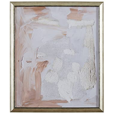 Modern Abstract Pale Rose and White Textured Print, in Gold Frame, 19  x 22
