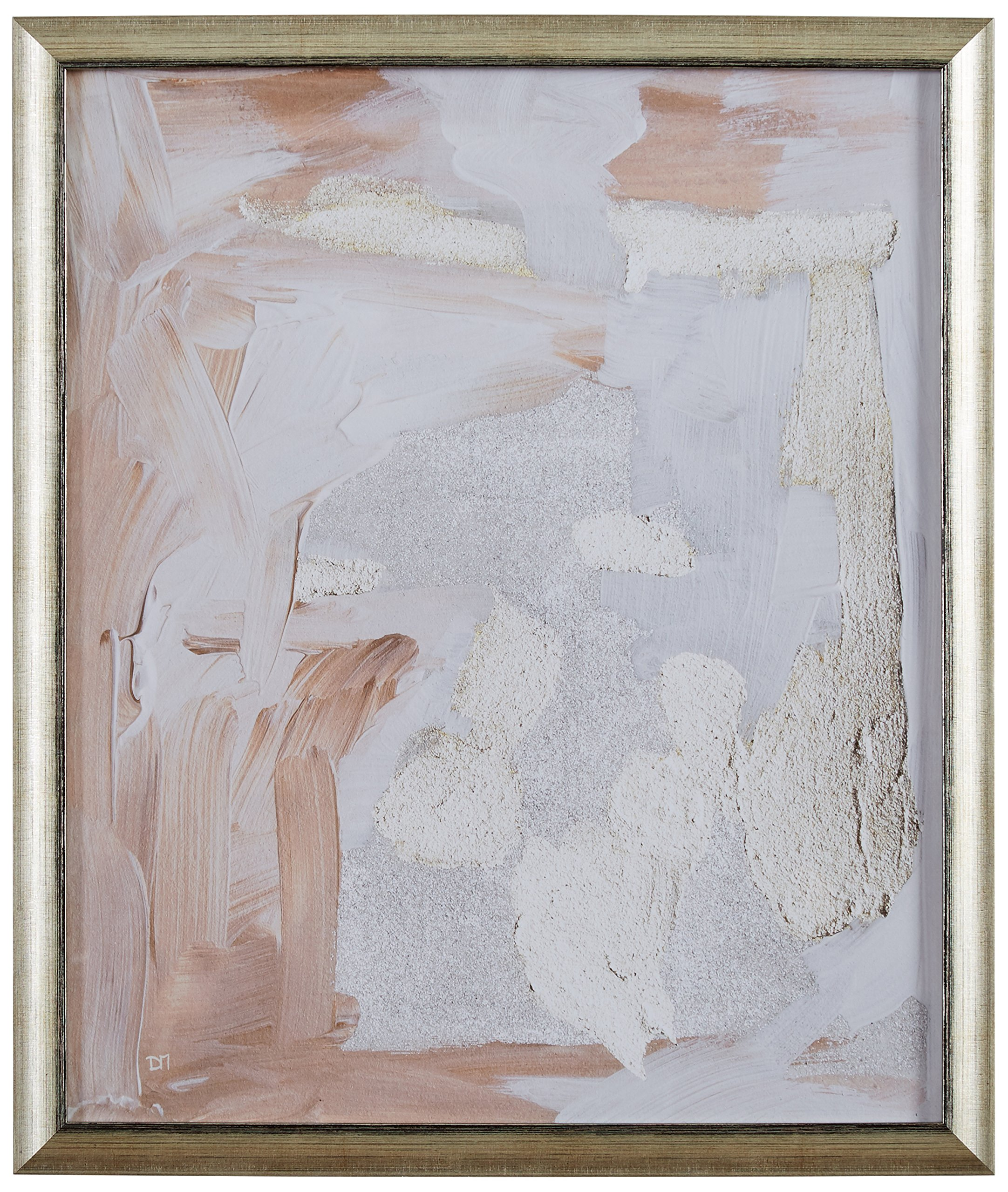 Modern Abstract Pale Rose and White Textured Print, in Gold Frame, 19'' x 22''