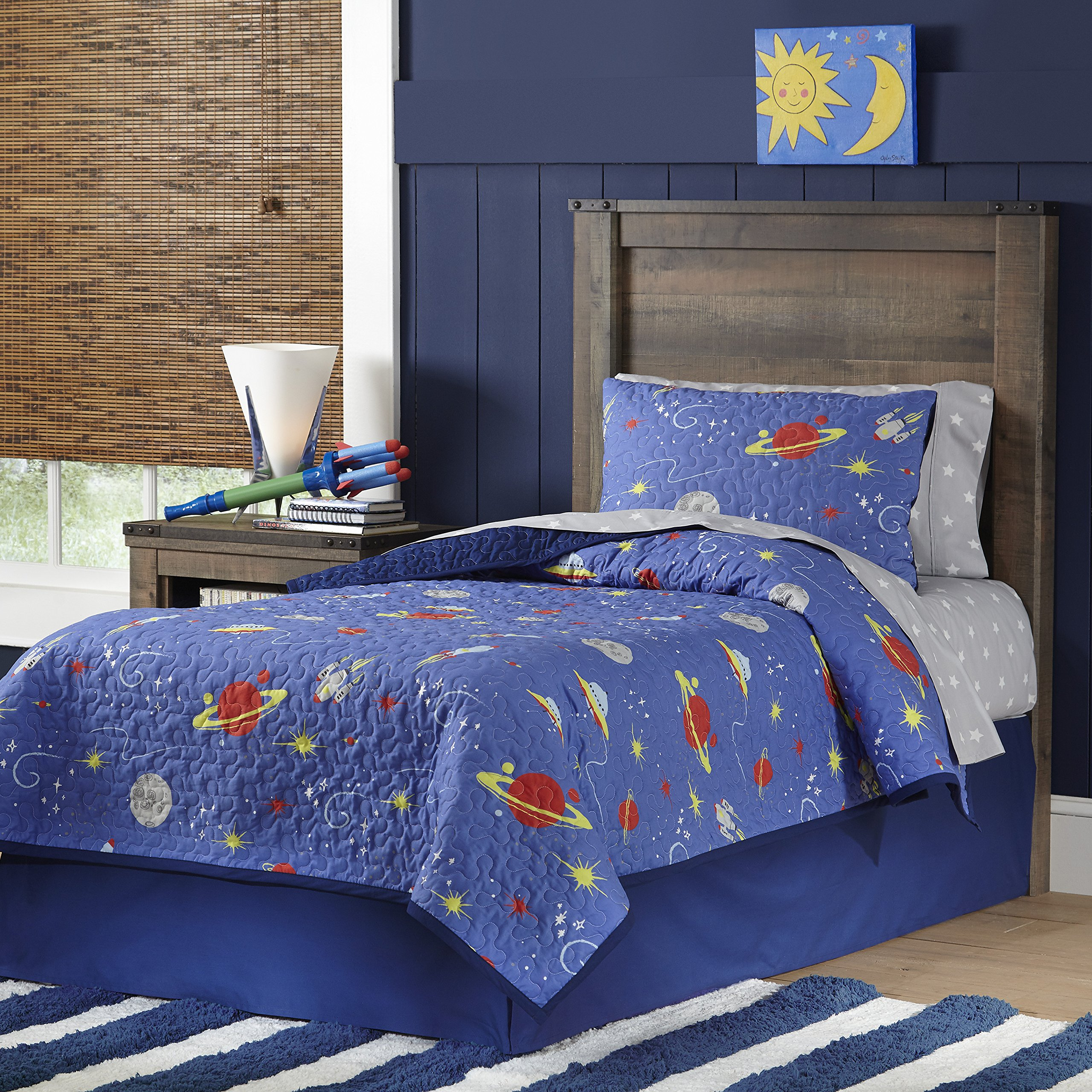 Lullaby Bedding Space Twin Cotton Printed 2 Piece Quilt Set,
