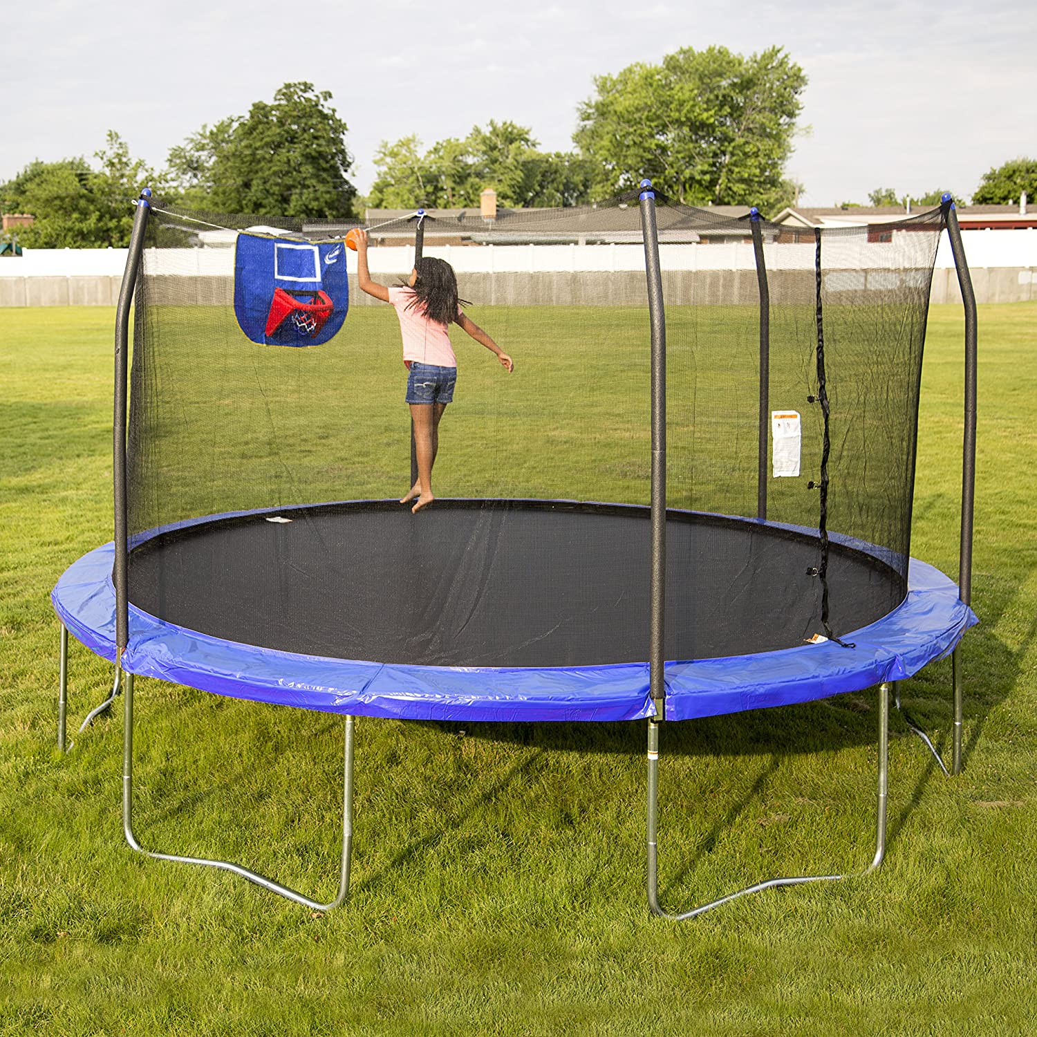 skywalker trampolines 15 feet jump n 39 dunk trampoline with safety enclosure and ebay. Black Bedroom Furniture Sets. Home Design Ideas