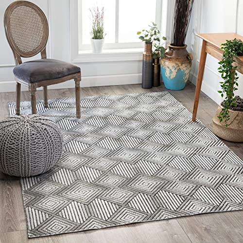 Well Woven Flynn Grey Hi-Low Pile Tribal Geometric Diamonds Area Rug 8×10 7'10″ x 9'10″