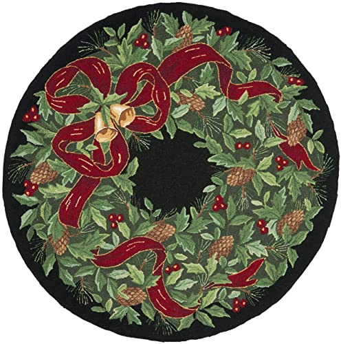 Safavieh Vintage Poster Collection VP323A Hand-Hooked Black and Green Wool Round Area Rug, 5 feet in Diameter 5 Diameter
