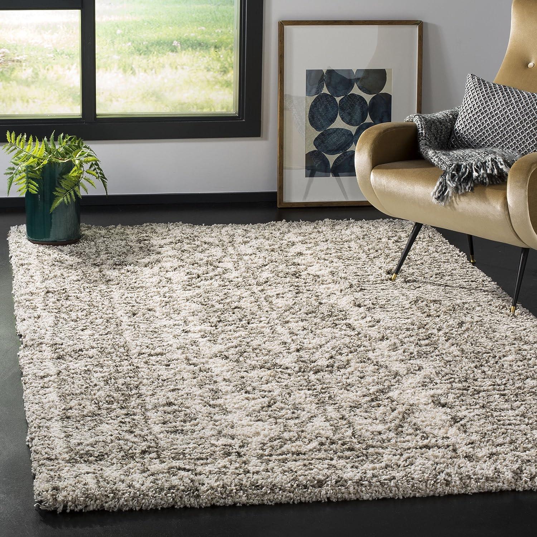 Amazon Com Safavieh Hudson Shag Collection Sgh376a Moroccan 2 Inch Thick Area Rug 6 X 9 Ivory Grey Furniture Decor