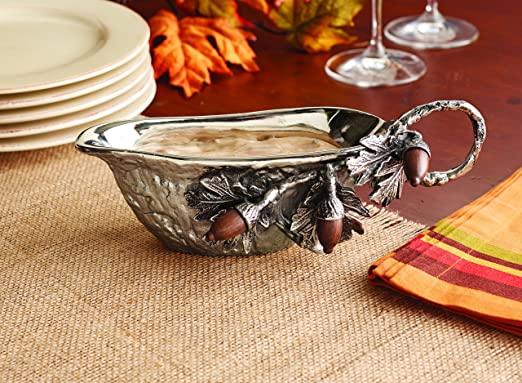 Mud Pie Silver Aluminum Metal Acorn Gravy Boat | christmastablescapedecor.com