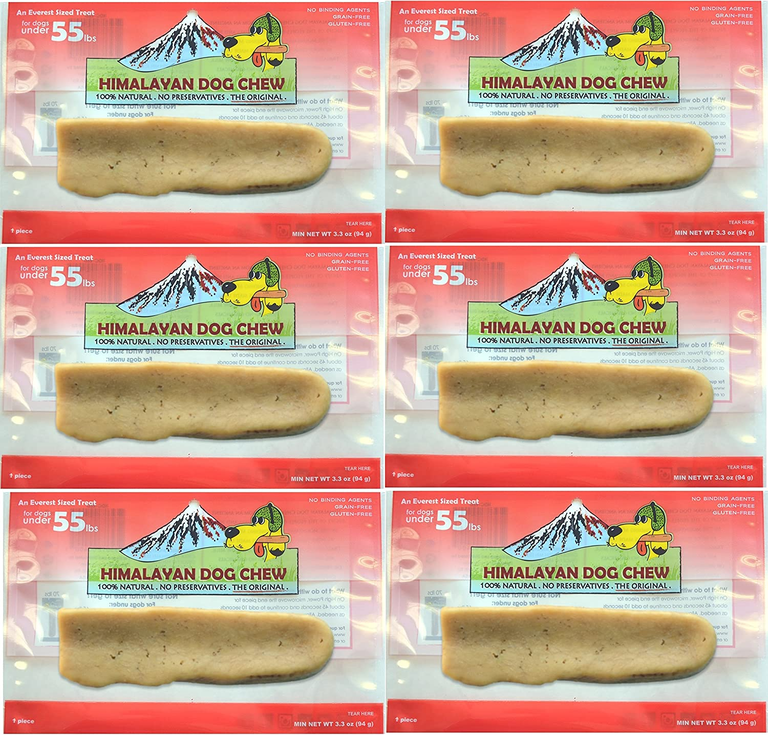 6-Pack Large Himalayan Chews Dog Chew Treat Made of Yak Milk 19.8 Total Oz