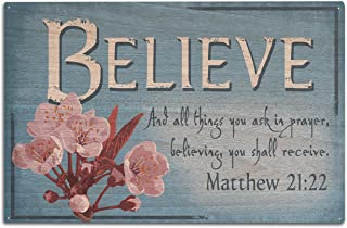 product image for Lantern Press Matthew 21:22 - Inspirational (10x15 Wood Wall Sign, Wall Decor Ready to Hang)