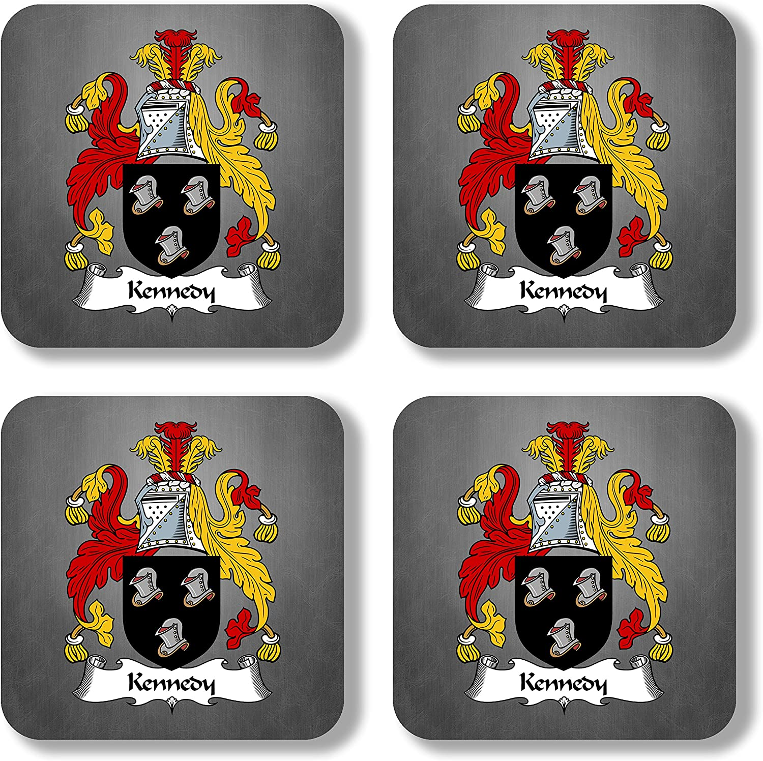 Kennedy Coat of Arms/Family Crest Coaster Set, by Carpe Diem Designs – Made in the U.S.A.