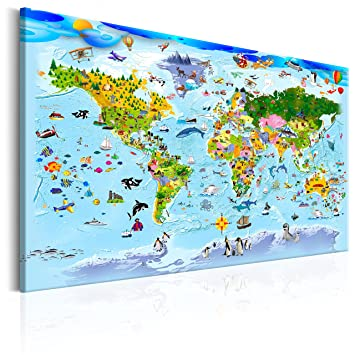 murando - Bilder Weltkarte für Kinder 120x80 cm Vlies Leinwandbild 1 ...
