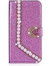 Miagon Diamond Case for Huawei P10,Luxury Glitter Rhinestone Pearl Heart PU Leather Folio Flip Wallet Cover Magnetic Closure Card Slots,Purple