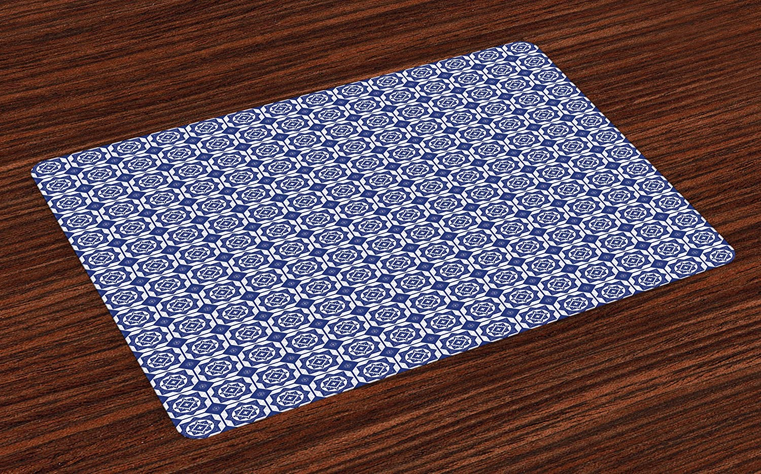 Ambesonne Dutch Place Mats Set of 4, Delft Style Geometric Pattern with Rhombuses and Hexagons Holland Design, Washable Fabric Placemats for Dining Room Kitchen Table Decor, Navy Blue and White