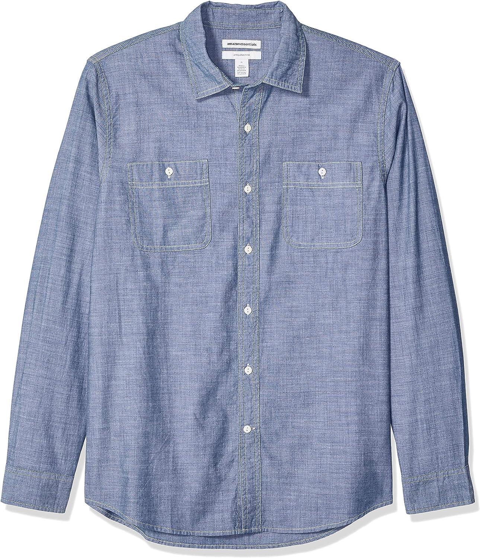 slim fit Camicia da uomo a maniche lunghe in chambray Essentials