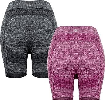"RUNNING GIRL Women 8.25"" High Waist Yoga Shorts with Pockets Tummy Control Workout Running Active Bike Shorts"