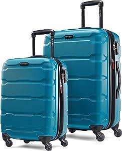 Samsonite Omni PC Hardside Expandable Luggage with Spinner Wheels, Caribbean Blue, 2-Piece Set (20/24)