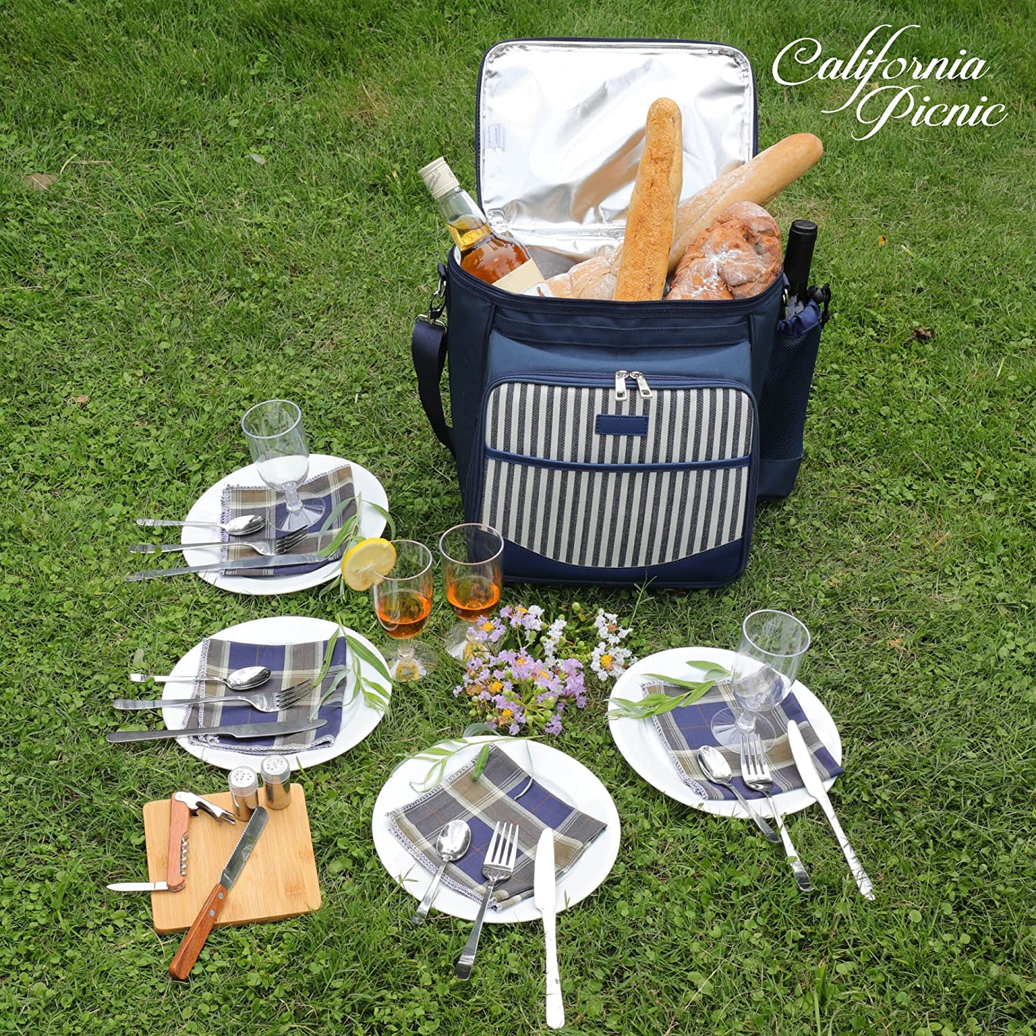 Picnic Shoulder Bag Set Cooler Bag for Camping Picnic Basket Tote Insulated Tote Bag Cheese Board Stylish All-in-One Portable Picnic Bag for 4 with Complete Cutlery Set Salt//Pepper Shakers