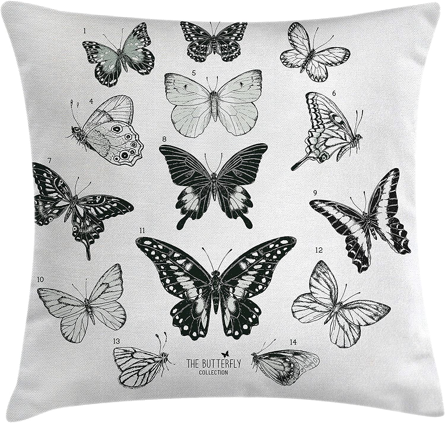 Amazon Com Ambesonne Butterfly Throw Pillow Cushion Cover Spring Arrangement Of Hand Drawn Butterflies Modern Realistic Artwork Decorative Square Accent Pillow Case 28 X 28 Black Grey And White Home Kitchen