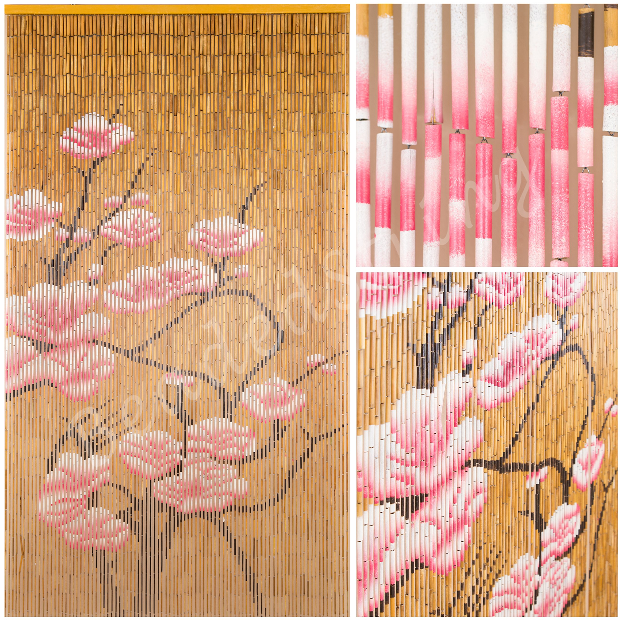 BeadedString Natural Bamboo Wood Beaded Curtain-90 Starnds-80 High-Boho Door Beads-Bohemian Doorway Curtain-35.5'' Wx80 H-Blossom by BeadedString (Image #2)